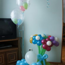 Оформление воздушными шарами выписки из роддома